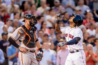 BOSTON, MA - JUNE 15: Hanley Ramirez #13 of the Boston Red Sox reacts after hitting a three run home run as Matt Wieters #32 of the Baltimore Orioles looks on during the third inning of a game on June 15, 2016 at Fenway Park in Boston, Massachusetts. (Photo by Billie Weiss/Boston Red Sox/Getty Images) *** Local Caption *** Hanley Ramirez; Matt Wieters