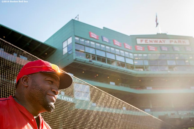 BOSTON, MA - JUNE 17: David Ortiz #34 of the Boston Red Sox walks onto the field before a game against the Seattle Mariners on June 17, 2016 at Fenway Park in Boston, Massachusetts. (Photo by Billie Weiss/Boston Red Sox/Getty Images) *** Local Caption *** David Ortiz