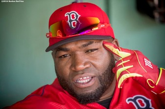 BOSTON, MA - JUNE 17: David Ortiz #34 of the Boston Red Sox reacts before a game against the Seattle Mariners on June 17, 2016 at Fenway Park in Boston, Massachusetts. (Photo by Billie Weiss/Boston Red Sox/Getty Images) *** Local Caption *** David Ortiz
