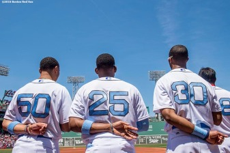 BOSTON, MA - JUNE 19: Members of the Boston Red Sox line up before a game against the Seattle Mariners on June19, 2016 at Fenway Park in Boston, Massachusetts. (Photo by Billie Weiss/Boston Red Sox/Getty Images) *** Local Caption ***