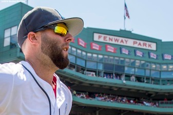 BOSTON, MA - JUNE 19: Dustin Pedroia #15 of the Boston Red Sox runs onto the field before a game against the Seattle Mariners on June19, 2016 at Fenway Park in Boston, Massachusetts. (Photo by Billie Weiss/Boston Red Sox/Getty Images) *** Local Caption *** Dustin Pedroia