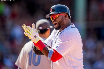 BOSTON, MA - JUNE 19: David Ortiz #34 of the Boston Red Sox reacts after hitting a single during the sixth inning of a game against the Seattle Mariners on June19, 2016 at Fenway Park in Boston, Massachusetts. (Photo by Billie Weiss/Boston Red Sox/Getty Images) *** Local Caption *** David Ortiz