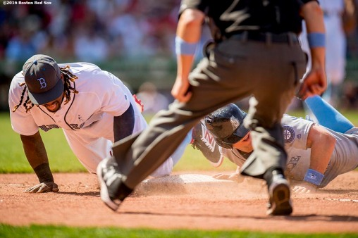 BOSTON, MA - JUNE 19: Kyle Seager #15 of the Seattle Mariners evades a tag by Hanley Ramirez #13 of the Boston Red Sox on a pick off attempt during the seventh inning of a game on June19, 2016 at Fenway Park in Boston, Massachusetts. (Photo by Billie Weiss/Boston Red Sox/Getty Images) *** Local Caption *** Hanley Ramirez; Kyle Seager