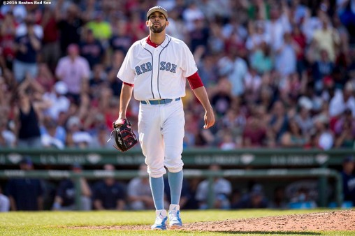 BOSTON, MA - JUNE 19: David Price #24 of the Boston Red Sox reacts during the eighth inning of a game against the Seattle Mariners on June19, 2016 at Fenway Park in Boston, Massachusetts. (Photo by Billie Weiss/Boston Red Sox/Getty Images) *** Local Caption *** David Price