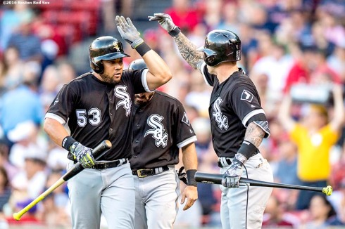 BOSTON, MA - JUNE 21: Melky Cabrera #53 of the Chicago White Sox high fives teammates after hitting a sacrifice fly during the first inning of a game against the Boston Red Sox on June21, 2016 at Fenway Park in Boston, Massachusetts. (Photo by Billie Weiss/Boston Red Sox/Getty Images) *** Local Caption *** Melky Cabrera