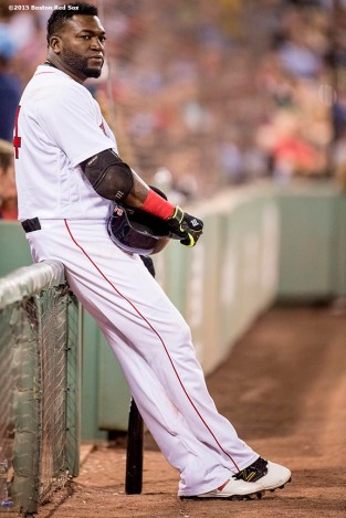 BOSTON, MA - JUNE 22: David Ortiz #34 of the Boston Red Sox waits on deck during the sixth inning of a game against the Chicago White Sox on June 22, 2016 at Fenway Park in Boston, Massachusetts. (Photo by Billie Weiss/Boston Red Sox/Getty Images) *** Local Caption *** David Ortiz