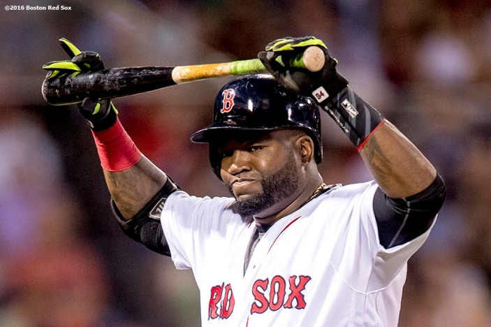 BOSTON, MA - JUNE 22: David Ortiz #34 of the Boston Red Sox reacts after grounding out during the sixth inning of a game against the Chicago White Sox on June 22, 2016 at Fenway Park in Boston, Massachusetts. (Photo by Billie Weiss/Boston Red Sox/Getty Images) *** Local Caption *** David Ortiz