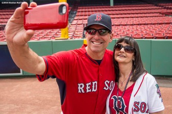June 22, 2016, Boston, MA: A fan poses for a selfie photograph with Boston Red Sox bench coach Torey Lovullo during the Girls of Summer event at Fenway Park in Boston, Massachusetts Tuesday, June 22, 2016. (Photo by Billie Weiss/Boston Red Sox)