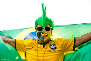 FOXBORO, MASSACHUSETTS - JUNE 12: A fan of Brazil poses during a group B match between Brazil and Peru at Gillette Stadium as part of Copa America Centenario US 2016 on June 12, 2016 in Foxboro, Massachusetts, US. (Photo by Billie Weiss/LatinContent/Getty Images)