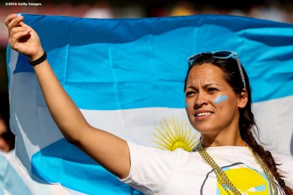 FOXBORO, MASSACHUSETTS - JUNE 18: A fan waves a flag during a Quarterfinal match between Argentina and Venezuela at Gillette Stadium as part of Copa America Centenario US 2016 on June 18, 2016 in Foxboro, Massachusetts, US. (Photo by Billie Weiss/LatinContent/Getty Images)