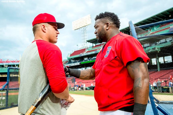 BOSTON, MA - JULY 1: David Ortiz #34 of the Boston Red Sox talks with Mike Trout #27 of the Los Angeles Angels of Anaheim before a game on July1, 2016 at Fenway Park in Boston, Massachusetts. (Photo by Billie Weiss/Boston Red Sox/Getty Images) *** Local Caption *** David Ortiz; Mike Trout