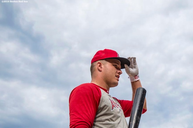 BOSTON, MA - JULY 1: Mike Trout #27 of the Los Angeles Angels of Anaheim adjusts his cap before a game against the Boston Red Sox on July1, 2016 at Fenway Park in Boston, Massachusetts. (Photo by Billie Weiss/Boston Red Sox/Getty Images) *** Local Caption *** Mike Trout