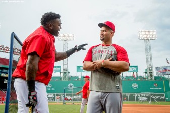 BOSTON, MA - JULY 1: David Ortiz #34 of the Boston Red Sox talks with Albert Pujols #5 of the Los Angeles Angels of Anaheim before a game on July1, 2016 at Fenway Park in Boston, Massachusetts. (Photo by Billie Weiss/Boston Red Sox/Getty Images) *** Local Caption *** David Ortiz; Albert Pujols