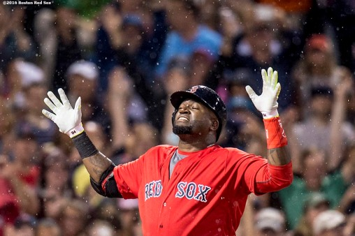 BOSTON, MA - JULY 1: David Ortiz #34 of the Boston Red Sox reacts after hitting a solo home run during the fifth inning of a game against the Los Angeles Angels of Anaheim on July1, 2016 at Fenway Park in Boston, Massachusetts. It was home run number 522 of his career, moving him into sole possession of 19th place on the all-time home run list. (Photo by Billie Weiss/Boston Red Sox/Getty Images) *** Local Caption *** David Ortiz