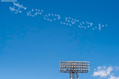 """BOSTON, MA - JULY 3: A plan forms a """"#GoSox"""" message in the sky during a game between the Boston Red Sox and the Los Angeles Angels of Anaheim on July 3, 2016 at Fenway Park in Boston, Massachusetts. (Photo by Billie Weiss/Boston Red Sox/Getty Images) *** Local Caption ***"""