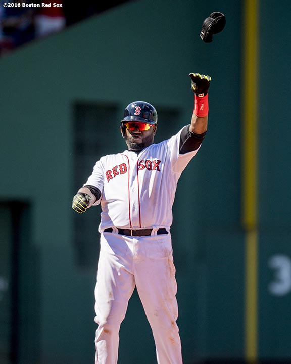 BOSTON, MA - JULY 3: David Ortiz #34 of the Boston Red Sox reacts after hitting an RBI double during the fifth inning of a game against the Los Angeles Angels of Anaheim on July 3, 2016 at Fenway Park in Boston, Massachusetts. (Photo by Billie Weiss/Boston Red Sox/Getty Images) *** Local Caption *** David Ortiz