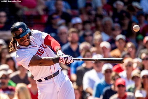 BOSTON, MA - JULY 3: Hanley Ramirez #13 of the Boston Red Sox hits an RBI double during the fifth inning of a game against the Los Angeles Angels of Anaheim on July 3, 2016 at Fenway Park in Boston, Massachusetts. (Photo by Billie Weiss/Boston Red Sox/Getty Images) *** Local Caption *** Hanley Ramirez
