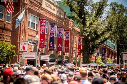BOSTON, MA - JULY 4: Fans enter through Yawkey Way before a game between the Boston Red Sox and the Texas Rangers on July 4, 2016 at Fenway Park in Boston, Massachusetts. (Photo by Billie Weiss/Boston Red Sox/Getty Images) *** Local Caption ***