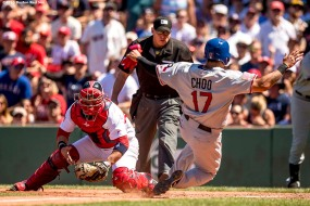 BOSTON, MA - JULY 4: Sandy Leon #3 of the Boston Red Sox tags out Shin-Soo-Choo #17 of the Texas Rangers as he attempts to score during the fourth inning of a game on July 4, 2016 at Fenway Park in Boston, Massachusetts. (Photo by Billie Weiss/Boston Red Sox/Getty Images) *** Local Caption *** Sandy Leon; Shin-Soo-Choo