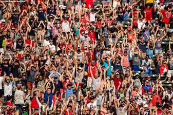 BOSTON, MA - JULY 4: Fans do the wave during a game between the Boston Red Sox and the Texas Rangers on July 4, 2016 at Fenway Park in Boston, Massachusetts. (Photo by Billie Weiss/Boston Red Sox/Getty Images) *** Local Caption ***