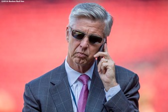 BOSTON, MA - JULY 5: Boston Red Sox President of Baseball Operations Dave Dombrowski talks on the phone before a game between the Boston Red Sox and the Texas Rangers on July 5, 2016 at Fenway Park in Boston, Massachusetts. (Photo by Billie Weiss/Boston Red Sox/Getty Images) *** Local Caption *** Dave Dombrowski