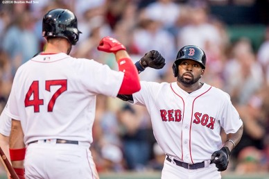 BOSTON, MA - JULY 5: Jackie Bradley Jr. #25 of the Boston Red Sox high fives Travis Shaw #47 after hitting a solo home run during the second inning of a game against the Texas Rangers on July 5, 2016 at Fenway Park in Boston, Massachusetts. (Photo by Billie Weiss/Boston Red Sox/Getty Images) *** Local Caption *** Jackie Bradley Jr.; Travis Shaw