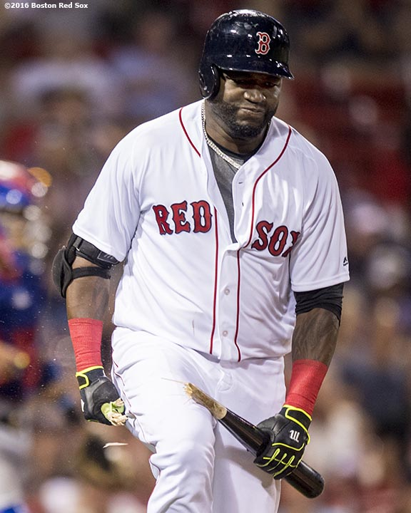 BOSTON, MA - JULY 5: David Ortiz #34 of the Boston Red Sox breaks his bat after hitting a single during the ninth inning of a game against the Texas Rangers on July 5, 2016 at Fenway Park in Boston, Massachusetts. (Photo by Billie Weiss/Boston Red Sox/Getty Images) *** Local Caption *** David Ortiz
