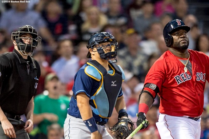 BOSTON, MA - JULY 8: David Ortiz #34 of the Boston Red Sox hits a solo home run during the fourth inning of a game against the Tampa Bay Rays on July 8, 2016 at Fenway Park in Boston, Massachusetts. (Photo by Billie Weiss/Boston Red Sox/Getty Images) *** Local Caption *** David Ortiz
