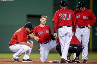 BOSTON, MA - JULY 8: Brock Holt #12 of the Boston Red Sox is injured after stealing second base during the fourth inning of a game against the Tampa Bay Rays on July 8, 2016 at Fenway Park in Boston, Massachusetts. (Photo by Billie Weiss/Boston Red Sox/Getty Images) *** Local Caption *** Brock Holt