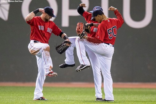 BOSTON, MA - JULY 8: Bryce Brentz # 64, Jackie Bradley Jr. #25, and Mookie Betts #50 of the Boston Red Sox celebrate a victory against the Tampa Bay Rays on July 8, 2016 at Fenway Park in Boston, Massachusetts. (Photo by Billie Weiss/Boston Red Sox/Getty Images) *** Local Caption *** Jackie Bradley Jr.; Bryce Brentz; Mookie Betts