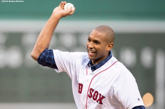 BOSTON, MA - JULY 8: Newly acquired Boston Celtics player Al Horford throws out the ceremonial first pitch before a game between the Boston Red Sox and the Tampa Bay Rays on July 8, 2016 at Fenway Park in Boston, Massachusetts. (Photo by Billie Weiss/Boston Red Sox/Getty Images) *** Local Caption *** Al Horford