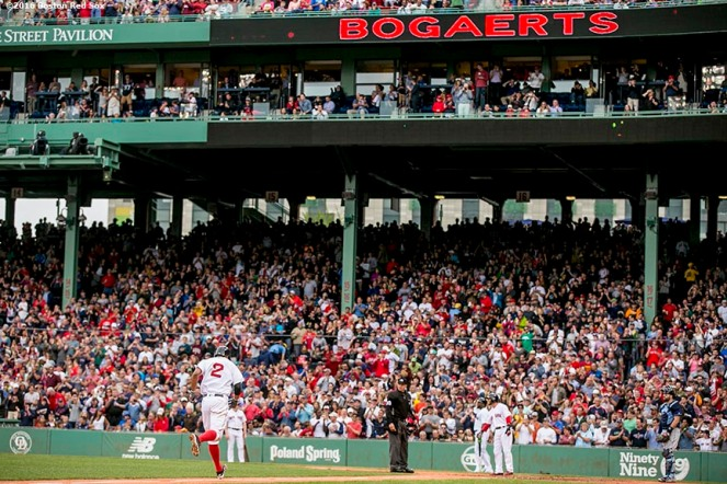 BOSTON, MA - JULY 8: Xander Bogaerts #2 of the Boston Red Sox rounds the bases after hitting a two run home run during the fourth inning of a game against the Tampa Bay Rays on July 9, 2016 at Fenway Park in Boston, Massachusetts. (Photo by Billie Weiss/Boston Red Sox/Getty Images) *** Local Caption *** Xander Bogaerts
