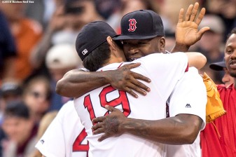 BOSTON, MA - JULY 8: Koji Uehara #19 of the Boston Red Sox hugs David Ortiz #34 after defeating the Tampa Bay Rays on July 9, 2016 at Fenway Park in Boston, Massachusetts. (Photo by Billie Weiss/Boston Red Sox/Getty Images) *** Local Caption *** Koji Uehara; David Ortiz
