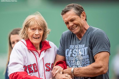 BOSTON, MA - JULY 8: Julia Ruth Stevens, daughter of Babe Ruth, throws out a ceremonial first pitch before a game between the Boston Red Sox and the Tampa Bay Rays on July 9, 2016 at Fenway Park in Boston, Massachusetts. (Photo by Billie Weiss/Boston Red Sox/Getty Images) *** Local Caption *** Julia Ruth Stevens