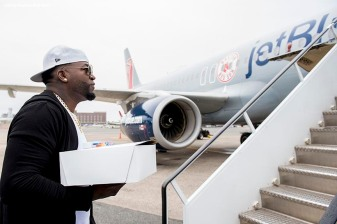 July 10, 2016, Boston, MA: Boston Red Sox designated hitter David Ortiz boards the plane in Boston, Massachusetts Sunday, July 10, 2016 during a team charter flight to San Diego, California for the 2016 Major League Baseball All-Star Game. (Photos by Billie Weiss/Boston Red Sox)