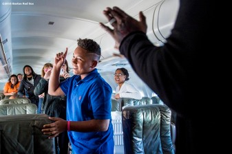 July 10, 2016, Boston, MA: D'Angelo Ortiz, son of Boston Red Sox designated hitter David Ortiz, celebrates his birthday on the plane in Boston, Massachusetts Sunday, July 10, 2016 during a team charter flight to San Diego, California for the 2016 Major League Baseball All-Star Game. (Photos by Billie Weiss/Boston Red Sox)
