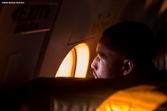 July 10, 2016, Boston, MA: Boston Red Sox center fielder Jackie Bradley Jr. looks out the window on the plane in Boston, Massachusetts Sunday, July 10, 2016 during a team charter flight to San Diego, California for the 2016 Major League Baseball All-Star Game. (Photos by Billie Weiss/Boston Red Sox)