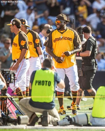 July 11, 2016, San Diego, CA: Boston Red Sox designated hitter David Ortiz reacts with American League teammates during the Home Run Derby at the 2016 Major League Baseball All-Star Game at PETCO Park in San Diego, California Monday, July 11, 2016. (Photos by Billie Weiss/Boston Red Sox)