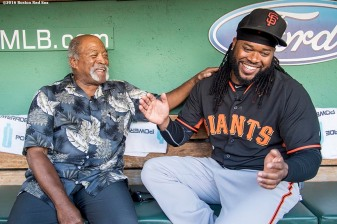 BOSTON, MA - JULY 19: Johnny Cueto #47 of the San Francisco Giants talks with former Boston Red Sox pitcher Luis Tiant before a game on July 19, 2016 at Fenway Park in Boston, Massachusetts. (Photo by Billie Weiss/Boston Red Sox/Getty Images) *** Local Caption *** Luis Tiant; Johnny Cueto