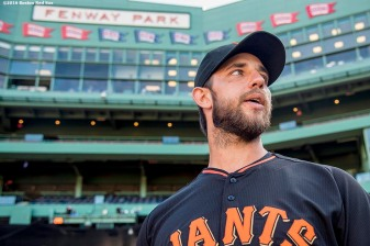 BOSTON, MA - JULY 19: Madison Bumgarner #40 of the San Francisco Giants looks on before a game against the Boston Red Sox on July 19, 2016 at Fenway Park in Boston, Massachusetts. (Photo by Billie Weiss/Boston Red Sox/Getty Images) *** Local Caption *** Madison Bumgarner
