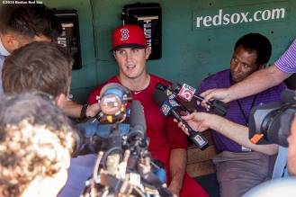 BOSTON, MA - JULY 19: Drew Pomeranz #31 of the Boston Red Sox meets with members of the media before a game against the San Francisco Giants on July 19, 2016 at Fenway Park in Boston, Massachusetts. It was his first game as a member of the Boston Red Sox at Fenway Park. (Photo by Billie Weiss/Boston Red Sox/Getty Images) *** Local Caption *** Drew Pomeranz