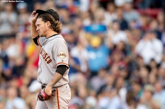 BOSTON, MA - JULY 19: Jake Peavy #22 of the San Francisco Giants reacts during the second inning of a game against the Boston Red Sox on July 19, 2016 at Fenway Park in Boston, Massachusetts. (Photo by Billie Weiss/Boston Red Sox/Getty Images) *** Local Caption *** Jake Peavy