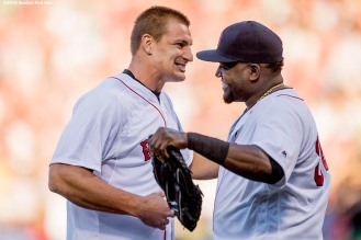BOSTON, MA - JULY 19: New England Patriots tight end Rob Gronkowski reacts with David Ortiz #34 of the Boston Red Sox after throwing out a ceremonial first pitch before a game between the Boston Red Sox and the San Francisco Giants on July 19, 2016 at Fenway Park in Boston, Massachusetts. (Photo by Billie Weiss/Boston Red Sox/Getty Images) *** Local Caption *** Rob Gronkowski; David Ortiz