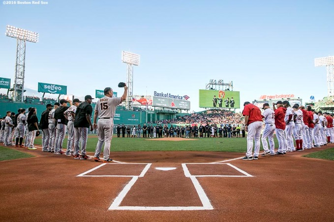 BOSTON, MA - JULY 19: Members of the San Francisco Giants and Boston Red Sox line up before a game on July 19, 2016 at Fenway Park in Boston, Massachusetts. (Photo by Billie Weiss/Boston Red Sox/Getty Images) *** Local Caption ***