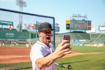 BOSTON, MA - JULY 20: Julian Edelman of the New England Patriots poses for a selfie photograph during batting practice before a game between the Boston Red Sox and the San Francisco Giants on July 20, 2016 at Fenway Park in Boston, Massachusetts. (Photo by Billie Weiss/Boston Red Sox/Getty Images) *** Local Caption *** Julian Edelman