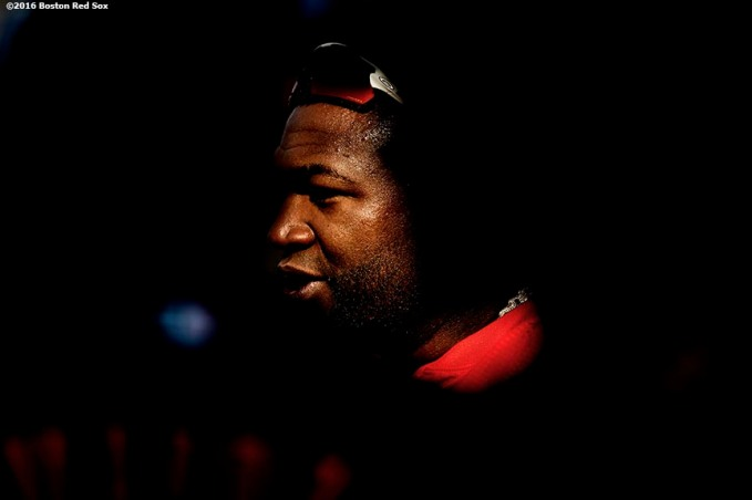 BOSTON, MA - JULY 20: David Ortiz #34 of the Boston Red Sox reacts before a game against the San Francisco Giants on July 20, 2016 at Fenway Park in Boston, Massachusetts. (Photo by Billie Weiss/Boston Red Sox/Getty Images) *** Local Caption *** David Ortiz