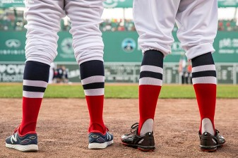 BOSTON, MA - JULY 20: Members of the Boston Red Sox wear throwback uniforms before a game against the San Francisco Giants on July 20, 2016 at Fenway Park in Boston, Massachusetts. (Photo by Billie Weiss/Boston Red Sox/Getty Images) *** Local Caption ***