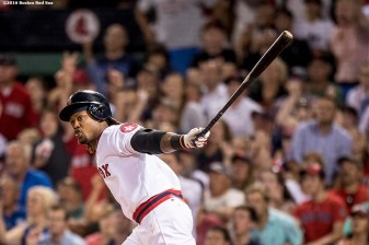 BOSTON, MA - JULY 20: Hanley Ramirez #13 of the Boston Red Sox hits a two run home run during the sixth inning of a game against the San Francisco Giants on July 20, 2016 at Fenway Park in Boston, Massachusetts. It was his third home run of the game. (Photo by Billie Weiss/Boston Red Sox/Getty Images) *** Local Caption *** Hanley Ramirez