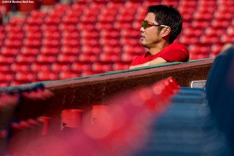 BOSTON, MA - JULY 21: Koji Uehara #19 of the Boston Red Sox looks on before of a game against the Minnesota Twins on July 21, 2016 at Fenway Park in Boston, Massachusetts. (Photo by Billie Weiss/Boston Red Sox/Getty Images) *** Local Caption *** Koji Uehara