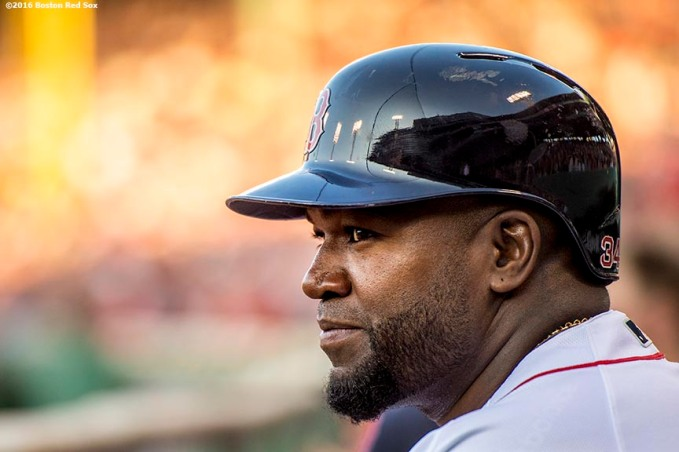 BOSTON, MA - JULY 21: David Ortiz #34 of the Boston Red Sox looks on from the dugout during the first inning of a game against the Minnesota Twins on July 21, 2016 at Fenway Park in Boston, Massachusetts. (Photo by Billie Weiss/Boston Red Sox/Getty Images) *** Local Caption *** David Ortiz